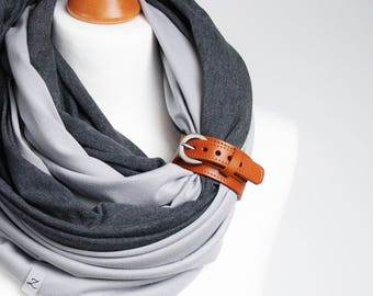 Infinity scarf with leather strap, infinity scarves by ZOJANKA, cotton lightweight infinity scarf, spring scarves, casual scarf, gift ideas