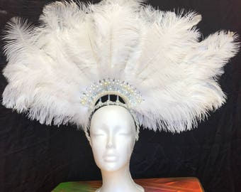 Custom headpiece, headdress - samba, feathers, carnival, mohawk, horns, unicorn, burlesque, burner playa fashion