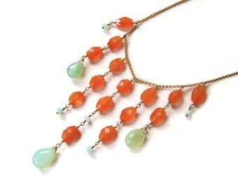 Carnelian Necklace Orange Carnelian Bib Necklace Statment Necklace Chalcedony Teardrop Shape Jewelry OOAK Spring Trends Gift Idea For Her