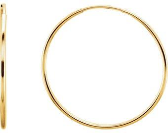 Any Color 14K Gold Hoop Earrings