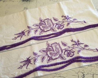 Hand Embroidered Pillowcases with Fine Crochet Edging