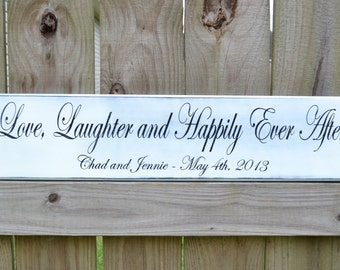 Love Laughter and Happily Ever After - Personalized Wedding Gift - Engagement Gift - Wood Anniversary Gift - Wedding Decor - Personalized