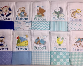 Personalized Baby Burp Cloth set of 10