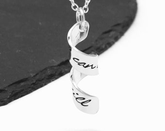 Hand stamped secret message necklace, spiral pendant, twisted jewellery, hidden message, personalised jewelry, customised necklace