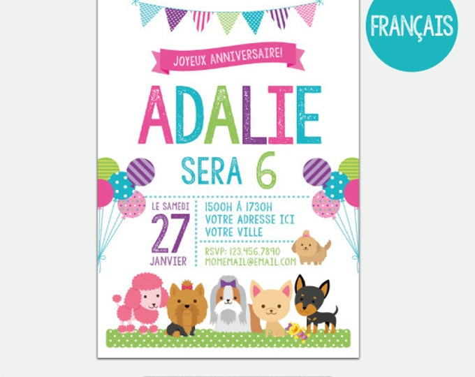 FRENCH Puppies and Kitties Invitation, Pet adoption party, Puppy Birthday Party, Kitty Adoption, Personalized Digital Invitation, 2 Options