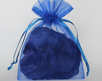Organza Gift Bags, Sapphire Sheer Favor Bags with Drawstring for Packaging, pack of 50