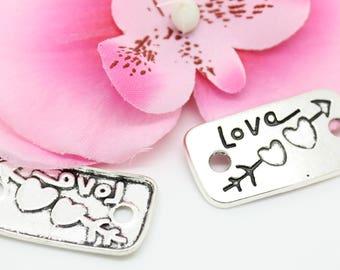 5 pendants, silver connector charm Love arrow 19x36mm