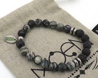 MOEN EKLIPSO/Netstone and volcanic lava bracelet