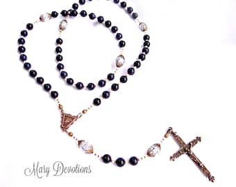 Blue Goldstone and Bronze Fleur-de-lis Rosary