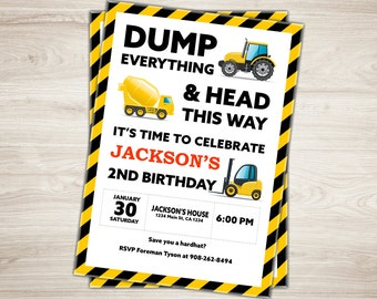 Construction Birthday Invitation Dump Truck Invitation First, Second Birthday Invite Construction Party Invitation Photo invite