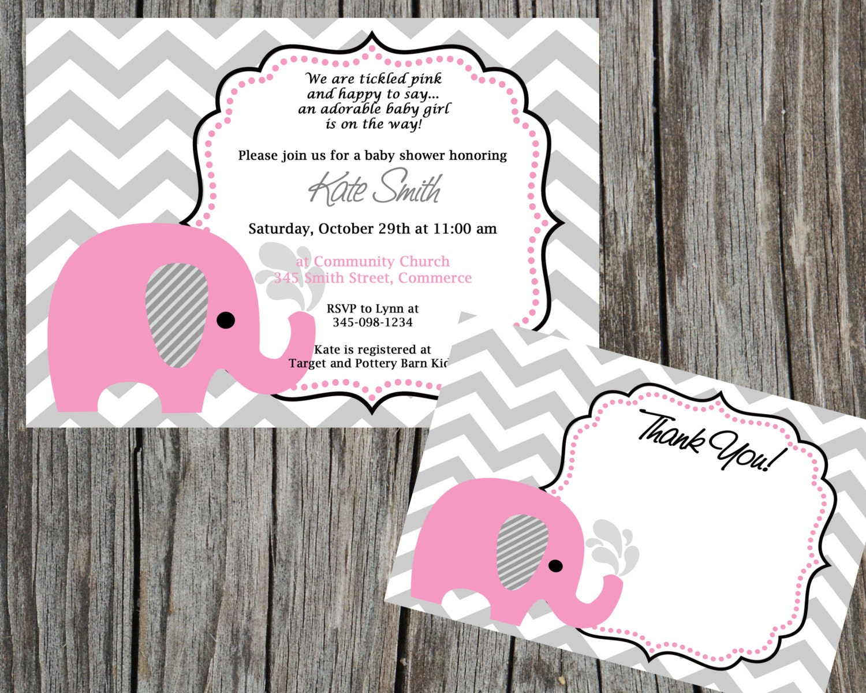 Elephant Invitation. Pink Elephant Invite. Elephant Baby