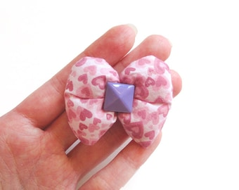 Pink Hearts Puffy Bow Hair Clip