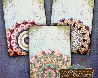 Mandala Digital Collage Sheet 2.5x3.5 inch size Gift Tags Jewelry Holders Vintage ephemera Greeting Cards Paper scrapbook Junk Journals