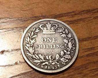 United Kingdom 1853 Victorian Silver Shilling  circulated  #C130