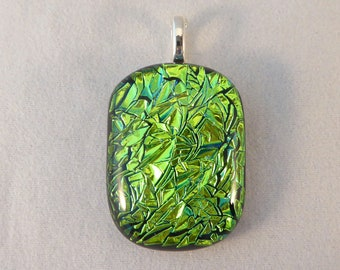 Green Dichroic Fused Glass Pendant, Fused Glass, Fused Glass Pendant, Glass Pendant, Dichroic Pendant, Dichroic, Emerald Green, Green