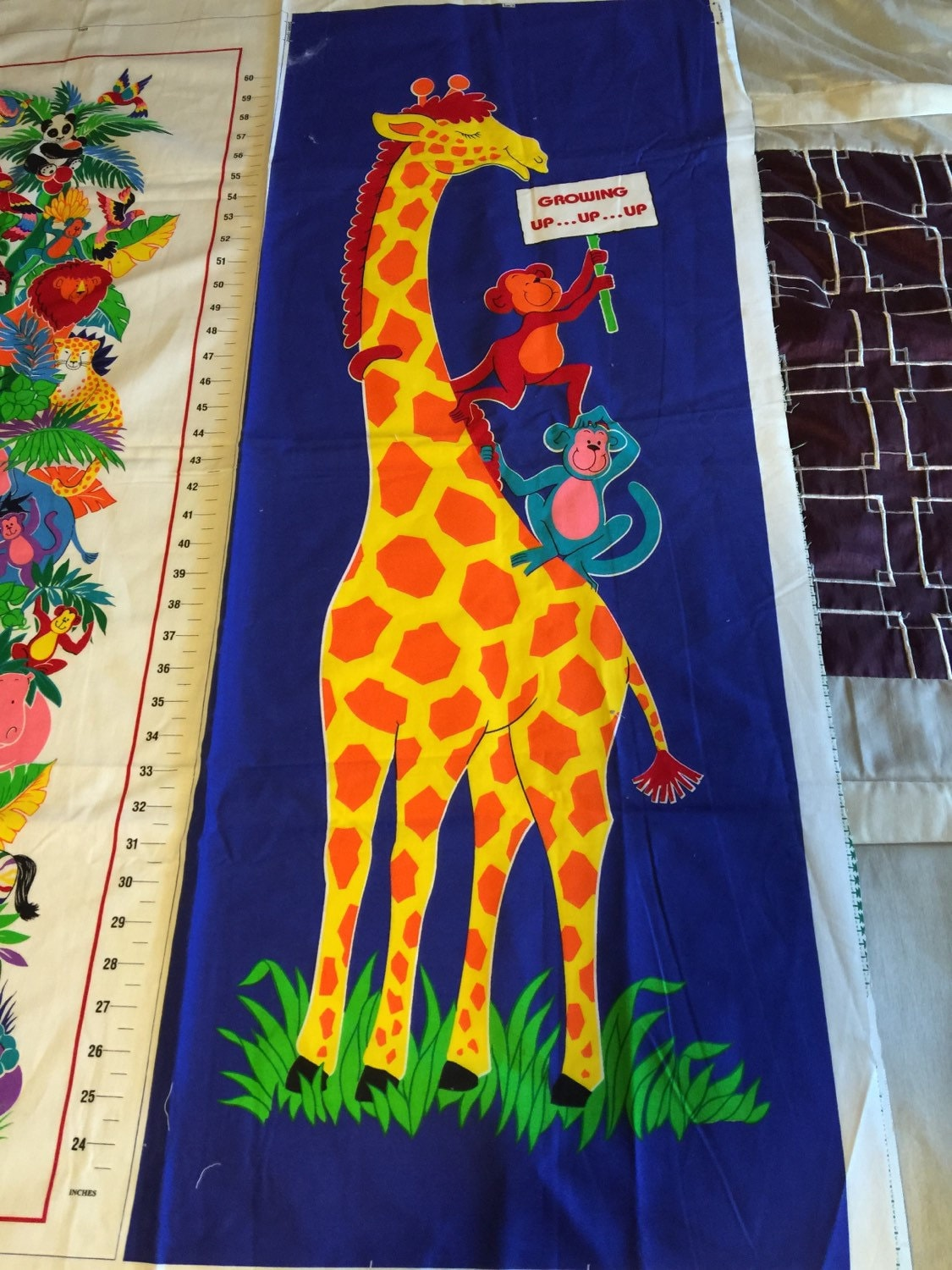 Vintage vip cranston print works rainbow jungle growth chart fabric growth chart fabric panel sold by oldcrowstreasures247 geenschuldenfo Images