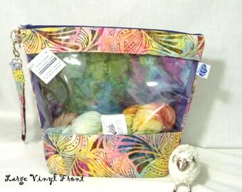 Tropical Batik Knitting Project Bag, Zippered Project Bag, Knitting Wedge Bag, Vinyl Front Bag, Yarn Tote Bag, Yarn Bag, knitting bag,