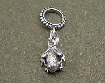 Dangle Frog Charm Bead Sterling Silver Pendant Toad
