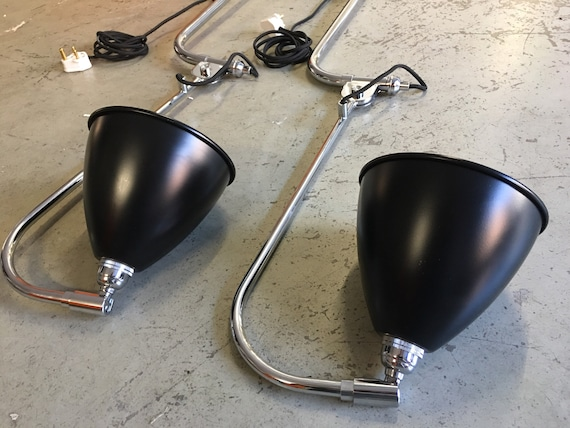 Robert Dudley Best Gubi BL10 pair of wall lights in black shade and chrome.
