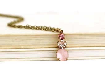 Vintage Pink Crystal Pendant Necklace - Victorian Style - Pink Jewel Pendant - Sparkly Necklace - Gift for Woman - Gift For Her