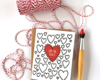 Valentines Day Card for Boyfriend  - Valentine - Love Card - Heart Card - Love You Mean It - Valentine Card - Everyday Card - Thinking of Y