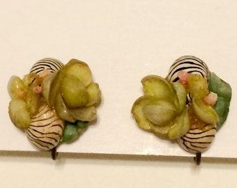 Beautiful Vintage Yellow Orchid Screw Back Earrings