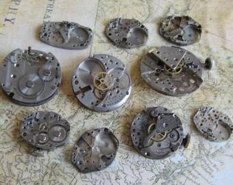 Featured - Steampunk supplies - Watch movement parts - Vintage Antique Watch parts Steampunk - Scrapbooking h9