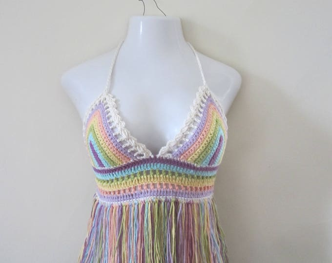 PASTEL RAINBOW Festival top,  Crochet pastel fringe top, ROYGBIV, Pastel fringe top, gypsy top, beach cover up, bohemian, summer top, hippie