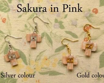 Japanese Origami Kimono Earrings-Sakura-Origami Kimono Earrings Sakura pattern