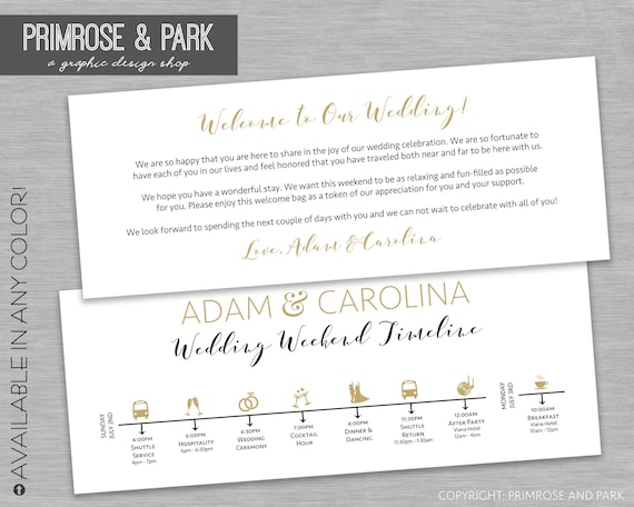 Wedding Welcome Letter And Itinerary Cards Wedding Timeline