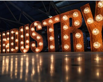 """20"""" / 50cm Industrial Marquee Letter Lights Aged Rust Look - INDUSTRY - Hand Made In Britain"""