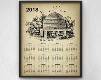 Vintage Beehive Calendar 2018 - Bee Keeping Decor - 2018 Bee Keeping Calendar - Beehive Print - Beehive Poster