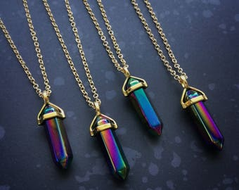 Titanium Flame Crystal Point Necklace, Aura Peacock Aura Quartz choker or long necklace, rainbow titanium, crystal necklace