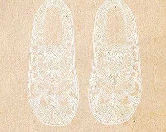 Lace Shoes - ink & collage illustration print on archival paper