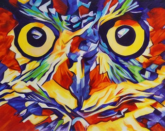 Pop Art Abstract Owl Face 1 – Original Framed Oil on Canvas – 11in x 14in x 1 3/8in – Animal Painting Wildlife Wall Decor – Owl