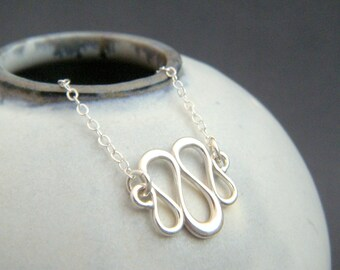 """small silver swirl necklace. sterling silver dainty necklace. everyday jewelry. small simple pendant. delicate. wavy wave go to pendant 5/8"""""""