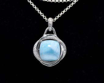 GENUINE LARIMAR 14mm 100% Natural,  Infinity Necklace .925 Sterling Silver