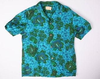 70s Vintage Royal Hawaiian Blue Floral Loop Collar Cotton Hawaiian Shirt Size M