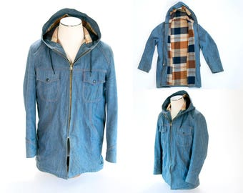 Rare 1970's Vintage Handmade Denim Hooded Jacket, Size Large // Wool Felt Lined, Great Cut! // Country, Rocker, Hoody, Hipster, Indie, Retro