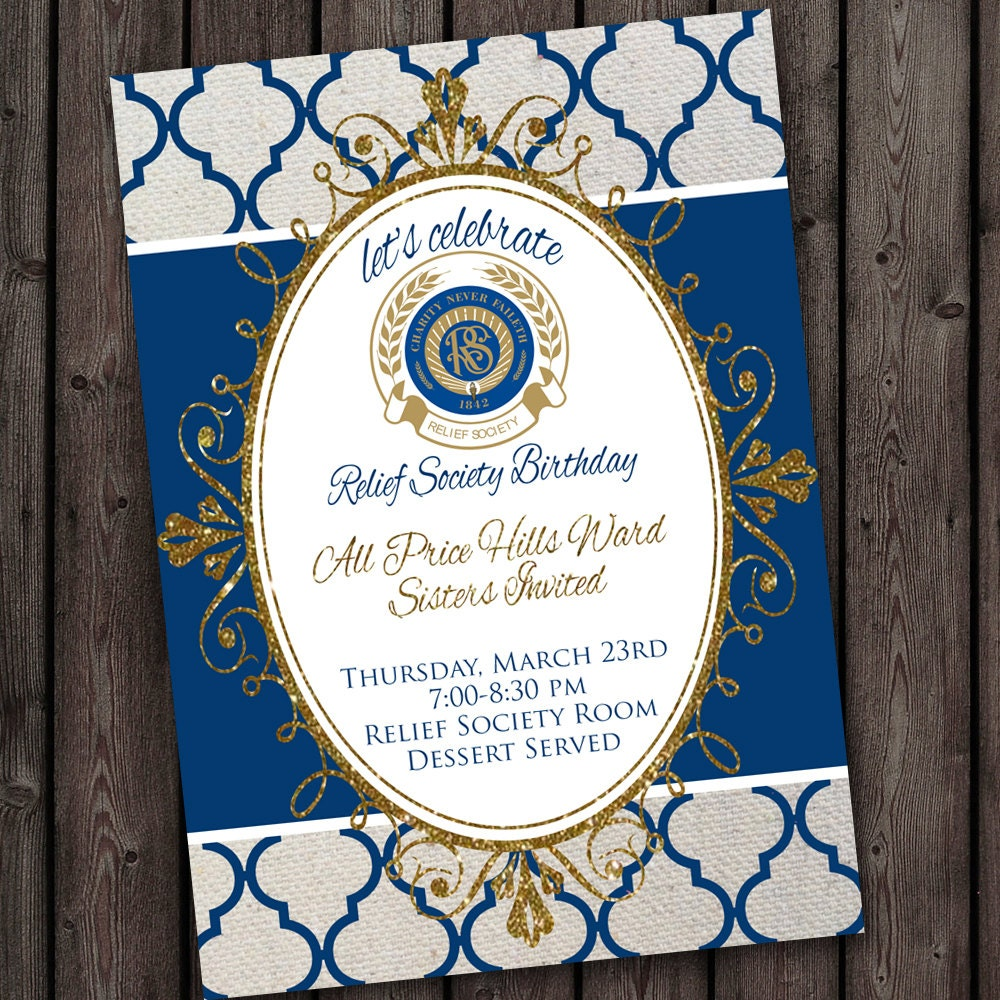 Relief Society Birthday Party Invitation with FREE customized