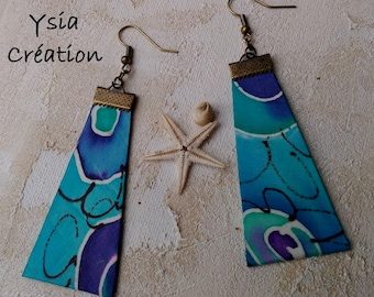 One of a kind handpainted silk earrings, turquoise, blue, violet