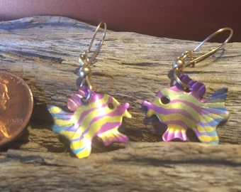 Titanium fish earrings on gold-filled ear wires.