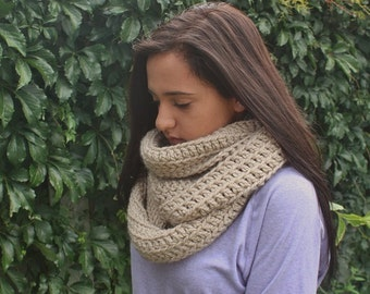Oversized Chunky Infinity Scarf, Crochet Winter cowl, Taupe