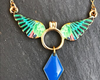 Colorful Hummingbird Blue Gold bib necklace