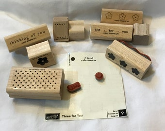 Three for You - Stampin' Up! -  Wood Mounted Rubber Stamp set - Retired