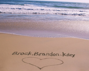 Your Family Names Written In The Beach Sand Personalized Beach Photograph