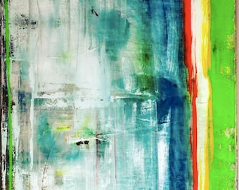 Inspired by Gerhard Richter Original Fine Modern Art Abstract Painting blue medium sized