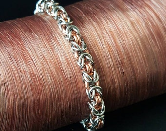 """Copper and Stainless Steel Byzantine bracelet 7"""""""