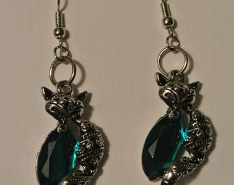 Silver fox with Blue Green Jewel and Silver Fishhook