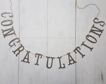 Congrats Banner, Congratulations Banner, Silver Glitter Banner, Retirement Party, You Did It, Bridal Shower Decor, Wedding Decor, Graduation